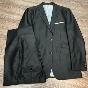 Gulliano Couture NEW Black Metallic Suit 42L Long